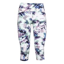 Under Armour Fly Fast Printed Speed Capri Leggings White Blue Lilac Women